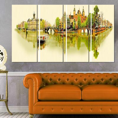 Designart Amsterdam Panoramic View Cityscape Watercolor Canvas Print - 4 Panels