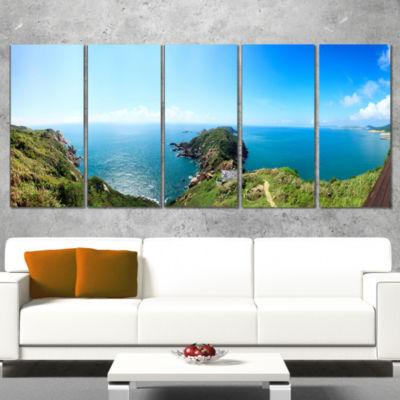 Designart Seascape View From Hillside PhotographyCanvas ArtPrint - 4 Panels