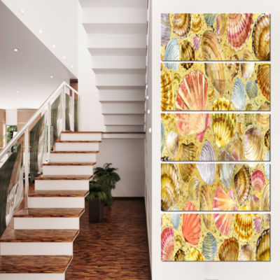 Designart Seashell and Sea Sand Beach PhotographyCanvas ArtPrint - 4 Panels
