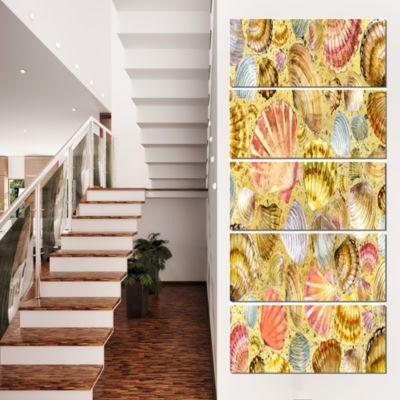 Designart Seashell and Sea Sand Beach PhotographyCanvas ArtPrint - 5 Panels