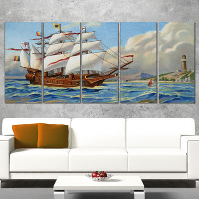 Designart Ancient Boat Drifting in Sea Seascape Canvas Art Print - 5 Panels