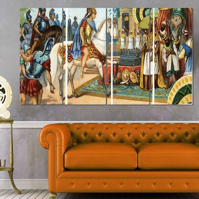 Designart Ancient Historical Illustration PortraitCanvas Art Print - 4 Panels