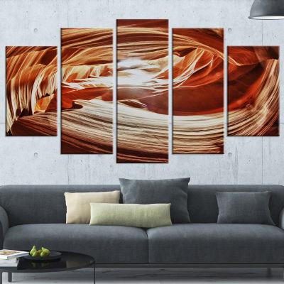 Designart Antelope Canyon Arch Yellow Landscape Photo Canvas Art Print - 5 Panels