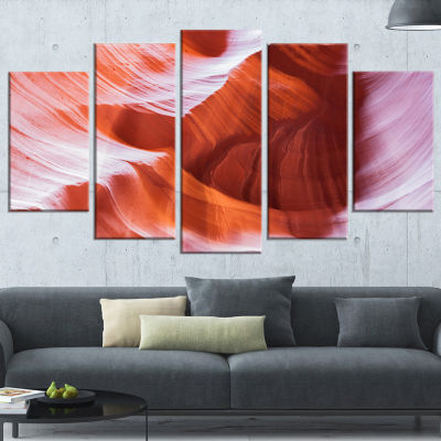 Designart Antelope Canyon Brown Wall Landscape Photography Canvas Print - 5 Panels