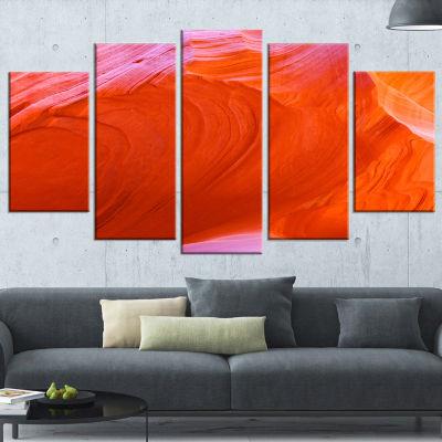 Designart Antelope Canyon Cave Landscape Photo Canvas Art Print - 5 Panels
