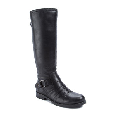 Wearever Shoes Womens Cansy Riding Boots Flat Heel Zip