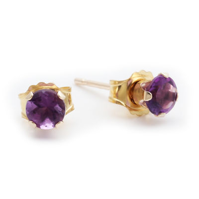 Genuine 4mm Amethyst 10K Yellow Gold Stud Earrings