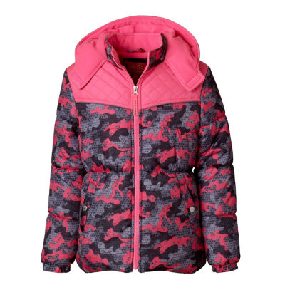 Pink Platinum Heavyweight Camouflage Puffer Jacket - Girls-Preschool