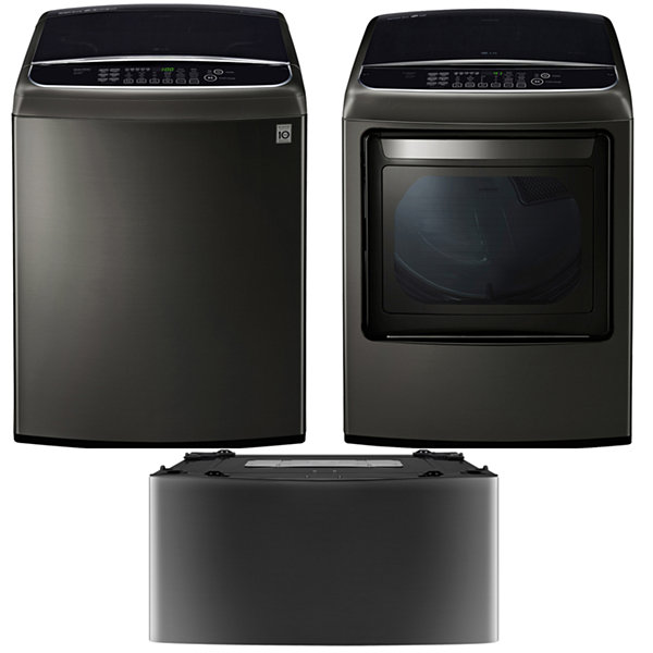 LG Gas Washer and Dryer Package with Sidekick- Black Stainless Steel
