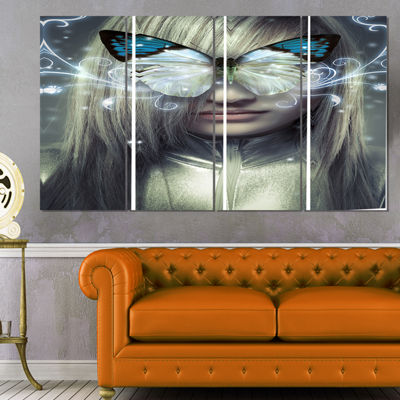 Designart Serious Young Blonde Abstract Portrait Canvas Print - 4 Panels