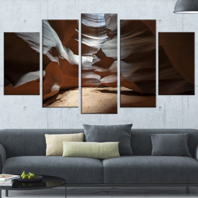Designart Antelope Canyon Dark inside Landscape Photo Canvas Art Print - 4 Panels