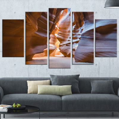 Designart Antelope Canyon Glow inside Brown Landscape Photography Canvas Print - 5 Panels