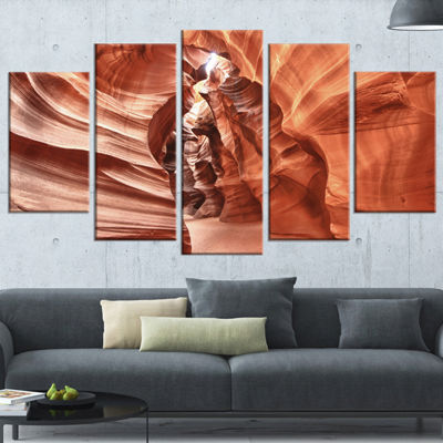 Designart Antelope Canyon High Structures YellowLandscape Photography Canvas Print - 5 Panels