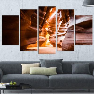 Designart Antelope Canyon in Sunshine Landscape Photo Canvas Art Print - 5 Panels