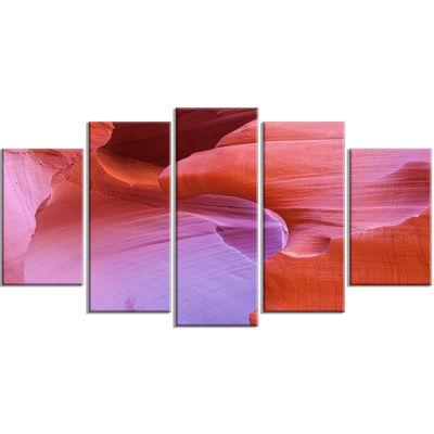 Designart Antelope Canyon Landscape Brown Photography Canvas Art Print - 5 Panels
