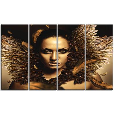 Sexy Brunette Digital Art Portrait Canvas Print -4 Panels
