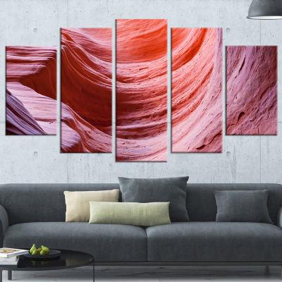 Designart Antelope Canyon Purple Wall Purple Landscape Photography Canvas Print - 5 Panels