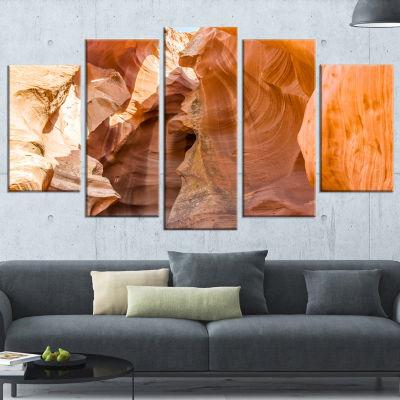Designart Antelope Canyon Sandstone Landscape Photo Canvas Art Print - 4 Panels