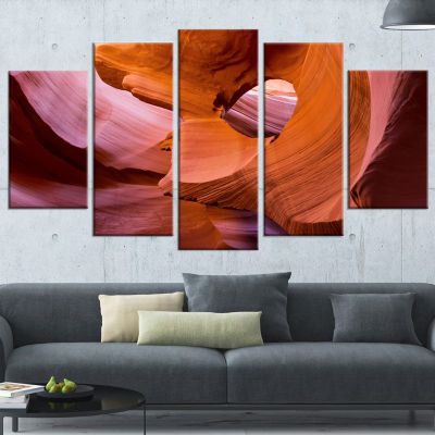 Designart Antelope Canyon Sandstone Waves Landscape Photography Canvas Print - 5 Panels