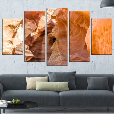 Designart Antelope Canyon Sandstone Yellow Landscape Photo Canvas Art Print - 5 Panels
