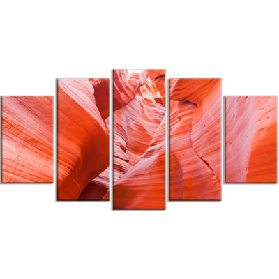 Designart Antelope Canyon Walls Landscape Photo Canvas Art Print - 5 Panels