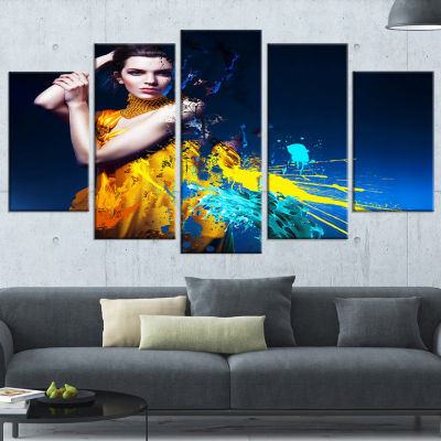 Sexy Woman in Long Yellow Robes Portrait Canvas Art Print - 5 Panels