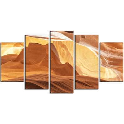 Designart Antelope Canyon with Light Rays Brown Landscape Photography Canvas Print - 5 Panels