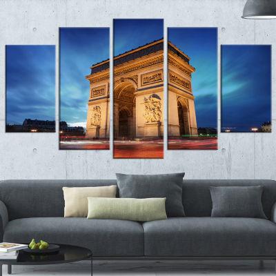 Designart Arch of Triumph in Paris Blue LandscapePhoto Canvas Art Print - 5 Panels
