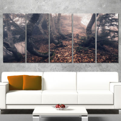 Designart Autumn Foggy Forest Trees Landscape Photography Canvas Print - 5 Panels