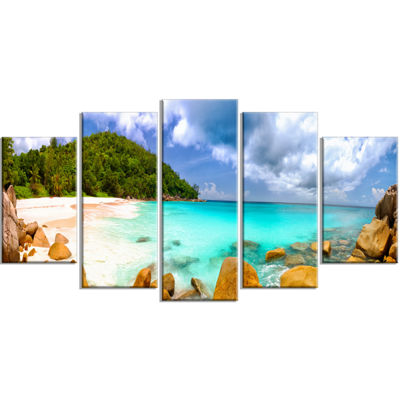 Designart Seychelles Beach Panorama Seascape Photography Canvas Art Print - 4 Panels