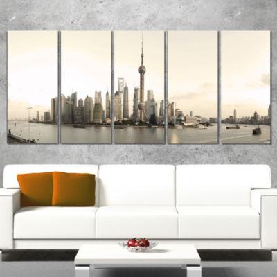 Designart Shanghai S Modern Architecture CityscapePhoto Canvas Print - 4 Panels