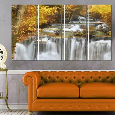 Designart Autumn Huai Mae Kamin Waterfall AbstractCanvas Artwork - 4 Panels
