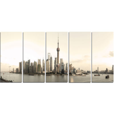 Shanghai S Modern Architecture Cityscape Photo Canvas Print - 5 Panels