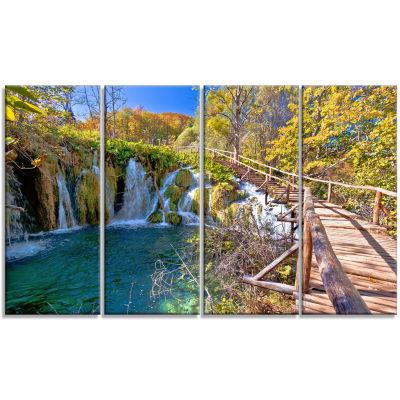 Designart Autumn in Plitvice Lakes Landscape PhotoCanvas Art Print - 4 Panels