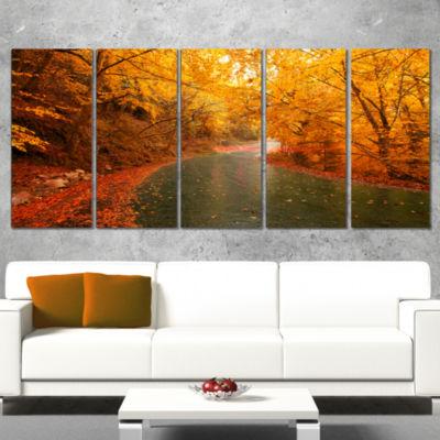 Designart Autumn Light Trails On Road Landscape PhotographyCanvas Print - 4 Panels