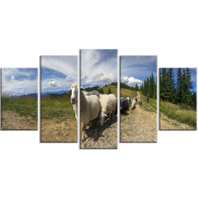 Designart Shepherd and Sheep of Carpathian Landscape Photography Canvas Print - 4 Panels