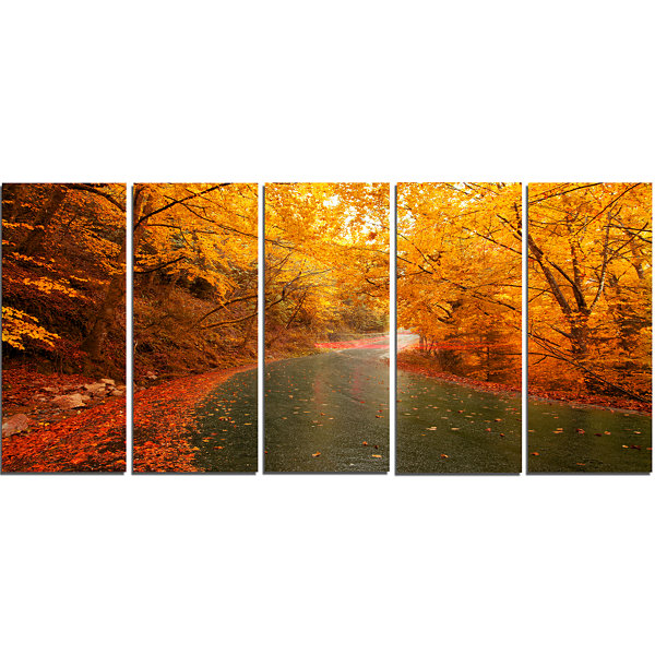 Designart Autumn Light Trails On Road Landscape PhotographyCanvas Print - 5 Panels