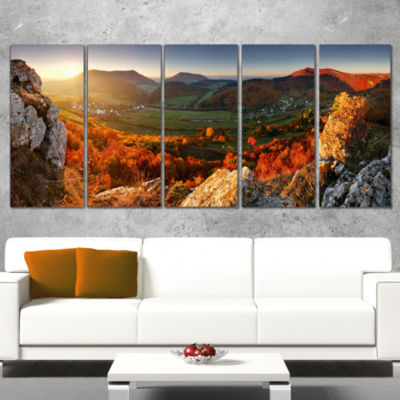 Designart Autumn Mountains Panorama Photography Canvas Art Print - 5 Panels