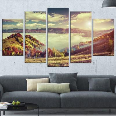 Designart Autumn Panorama of Mountains PhotographyCanvas Art Print - 4 Panels