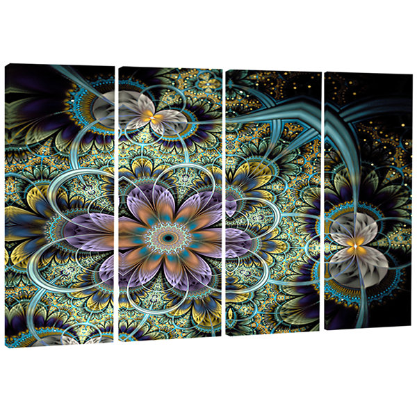 Designart Shiny Green Purple Fractal Flower on Black FloralCanvas Art Print - 4 Panels