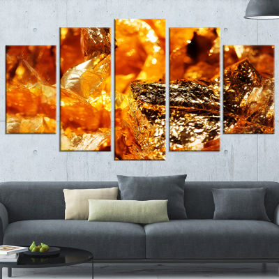 Designart Shiny Orange Gold Foil Abstract Canvas Art Print -4 Panels
