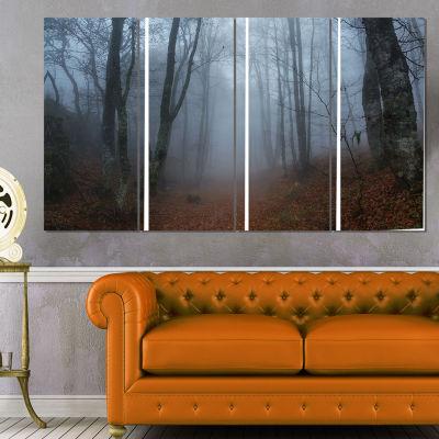 Designart Autumn Rainy Forest in Crimea LandscapePhotography Canvas Print - 4 Panels
