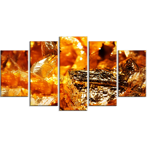 Designart Shiny Orange Gold Foil Abstract Canvas Art Print -5 Panels