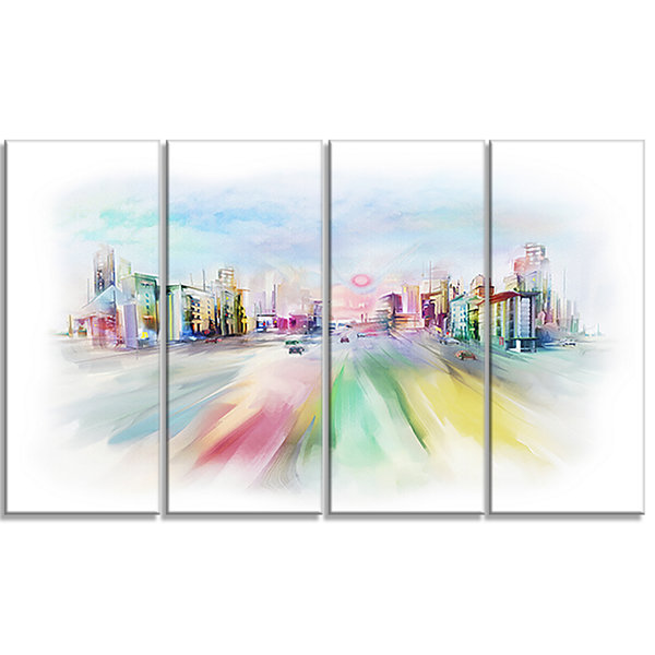 Designart Silhouette of Big City Cityscape CanvasArt Print- 4 Panels