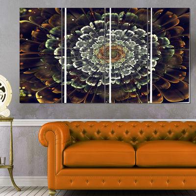 Designart Silver Metallic Fabric Flower Abstract Print on Canvas - 4 Panels