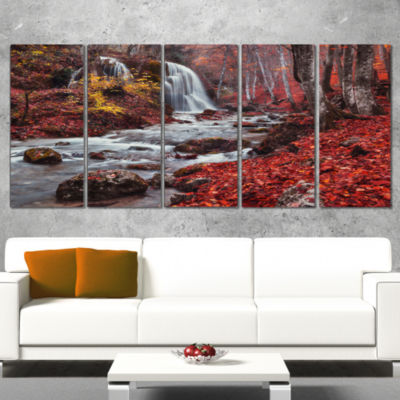 Silver Stream Waterfall Wide Landscape PhotographyCanvas Print - 4 Panels