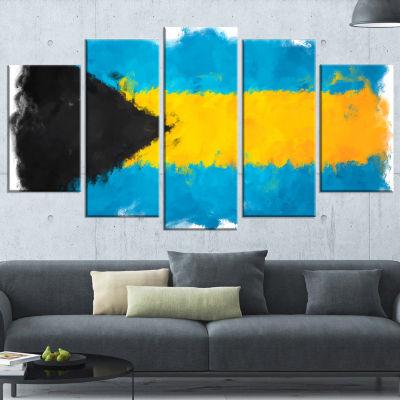Designart Bahamas Flag Illustration Flag PaintingCanvas Print - 4 Panels