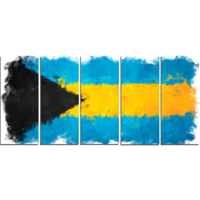 Designart Bahamas Flag Illustration Flag PaintingCanvas Print - 5 Panels
