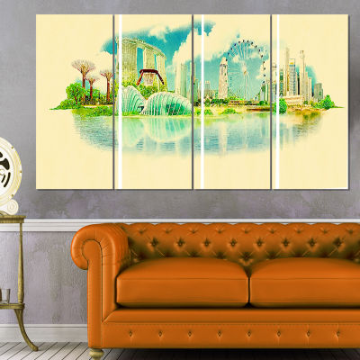 Designart Singapore Panoramic View Cityscape Watercolor Canvas Print - 4 Panels