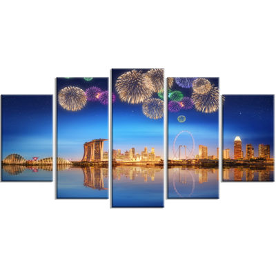 Designart Singapore Skyline Cityscape PhotographyCanvas ArtPrint - 4 Panels